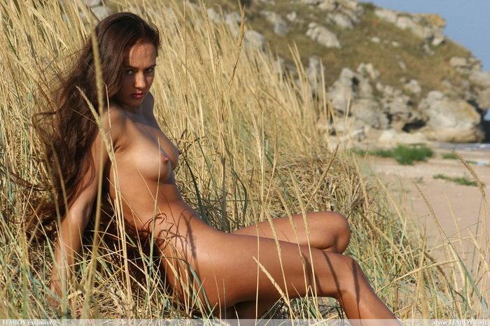 Эротическая галерея длинноволосой брюнетки на морском берегу