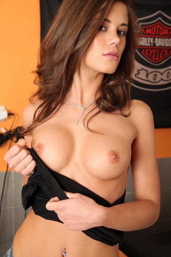 Эротический фотосет сексуальной брюнетки с байком Harley-Davidson