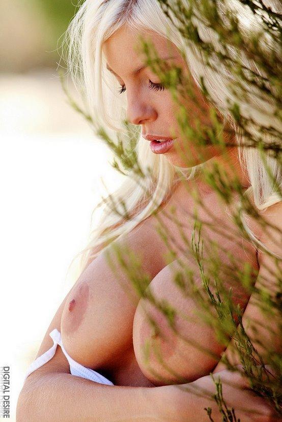 Эротическая фотосессия красивой блондинки в серой кофте