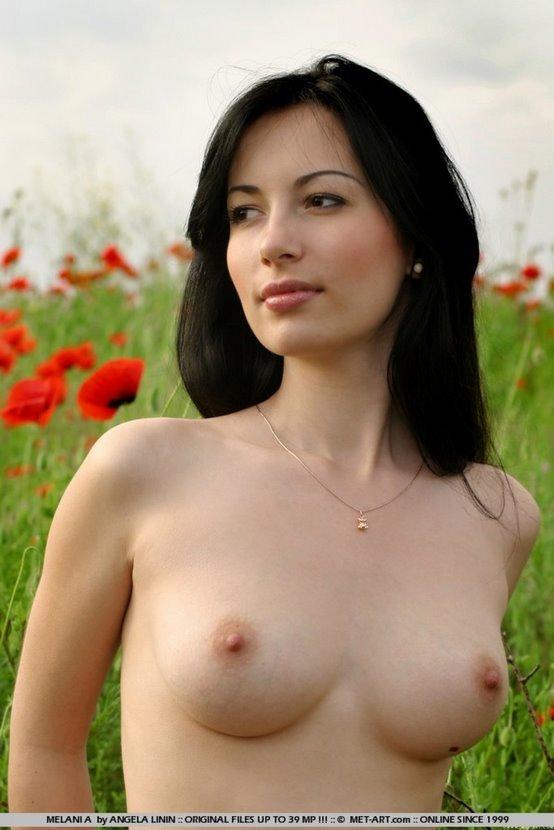 Эротическая фотосессия чувственной брюнетки на маковом поле
