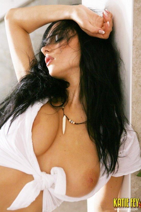 Эротическая фотосессия брюнетки в прозрачных шортиках