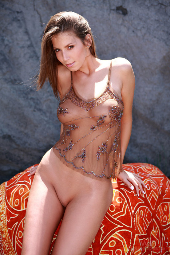 Эротический фотосет сексуальной шатенки в прозрачной маечке
